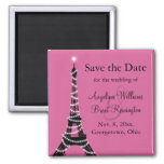 Eiffel Tower Sparkles Save the Date  (fuchsia) 2 Inch Square Magnet