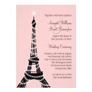 Eiffel Tower Sparkles Wedding Invitation (pink)