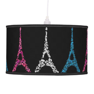 Eiffel Tower splatter of paint blue pink white Ceiling Lamp