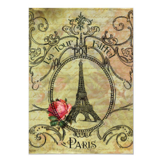 Eiffel Tower steampunk Red Rose Paris Card