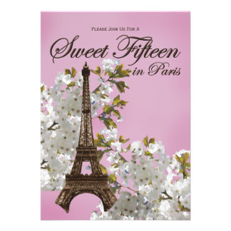 Eiffel Tower Sweet 15 Fifteen Invitations Lilac