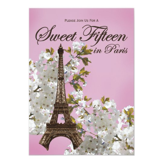 Eiffel Tower Sweet 15 Fifteen Invitations Lilac Zazzlecom