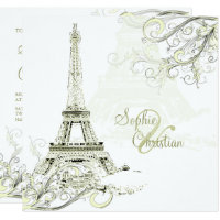 EIFFEL TOWER/SWIRLS/Luxe Champagne Paper Invitation