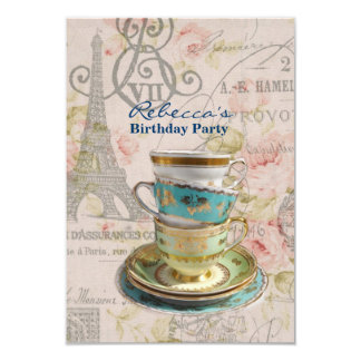 eiffel tower tea cup  vintage birthday party 3.5x5 paper invitation card
