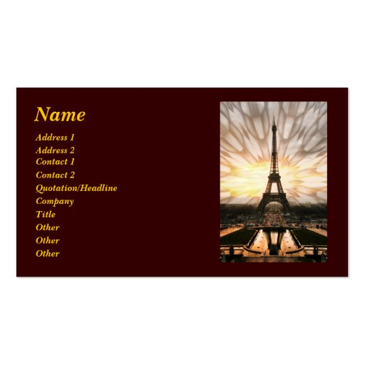 Eiffel Tower, template Double-Sided Standard Business Cards (Pack Of 100)