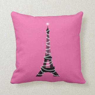 Eiffel Tower Throw Pillow pink