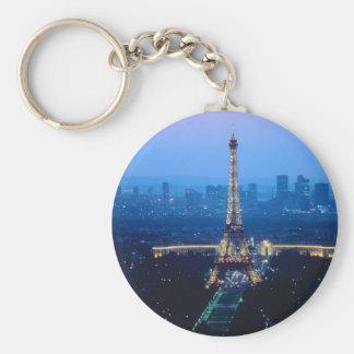 Eiffel Tower Twilight Basic Round Button Keychain