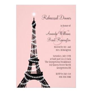 Eiffel Tower Twinkles Rehearsal Dinner Invitation