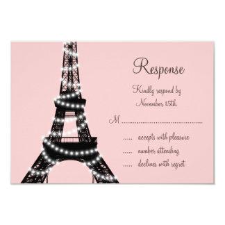 Eiffel Tower Twinkles RSVP (pink) 3.5x5 Paper Invitation Card
