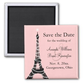 Eiffel Tower Twinkles Save the Date Magnet (pink)