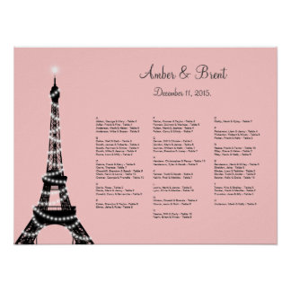 Eiffel Tower Twinkles Seating Chart pink
