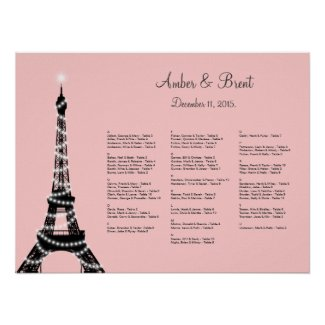 Eiffel Tower Twinkles Seating Chart pink Poster
