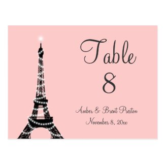 Eiffel Tower Twinkles Table Number pink Postcards