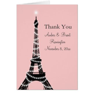 Eiffel Tower Twinkles Thank You Card (pink)