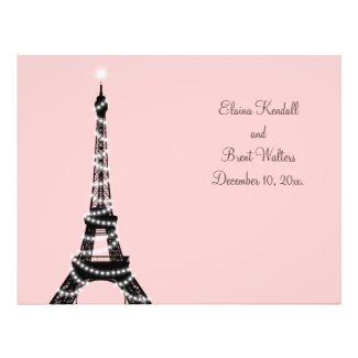 Eiffel Tower Twinkles Wedding Program (pink)