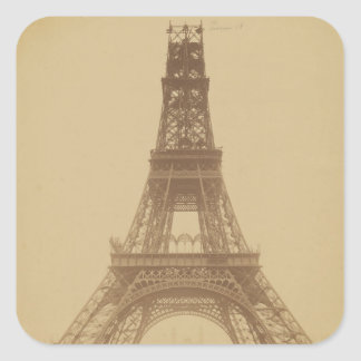 Eiffel Tower Under Construction 1888 Square Sticker