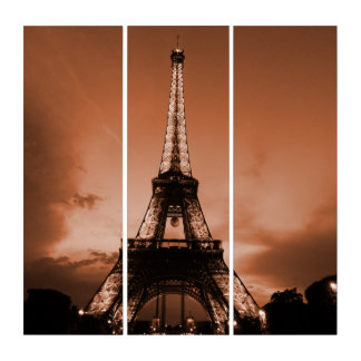 Eiffel Tower under Red sky Triptych
