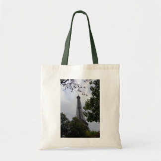 Eiffel Tower view between foliage Budget Tote Bag
