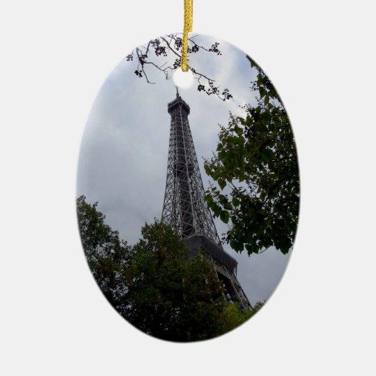 Eiffel Tower view between foliage Ceramic Ornament