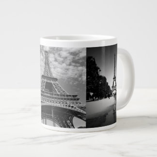 Eiffel Tower Views in Black and White Jumbo Mug