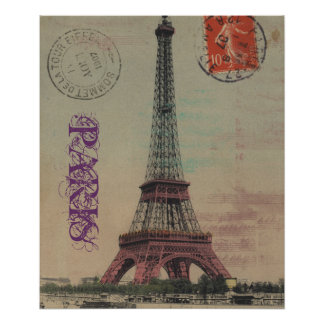 Eiffel Tower Vintage French Customizable Poster