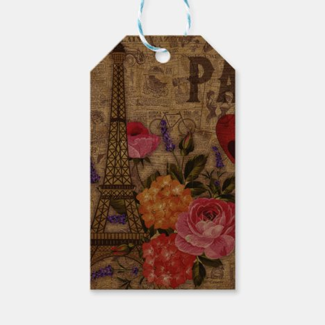 Eiffel Tower Vintage French Gift Tags