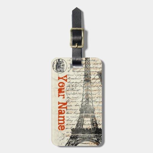 Eiffel Tower Vintage French Luggage Tag