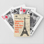"Eiffel Tower Vintage French Playing Cards<br><div class=""desc"">A distressed collage design featuring iconic French images and a French document from my personal collection of vintage correspondence. Fully customizable with the text,  font,  and color of your choice.</div>"