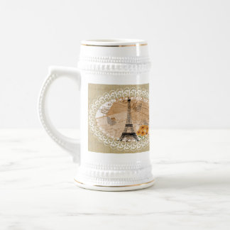 Eiffel Tower Vintage French Postcards & Map Beer Stein