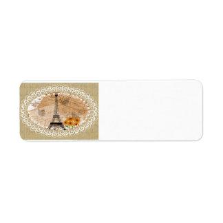 Eiffel Tower Vintage French Postcards Map Custom Return Address Label