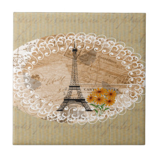 Eiffel Tower Vintage French Postcards & Map Tile