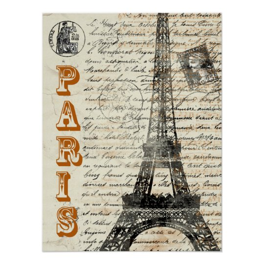 Eiffel Tower Vintage French Poster