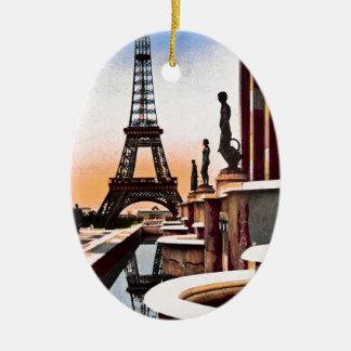 Eiffel Tower Vintage Hand Colored Birds Eye View Ceramic Ornament
