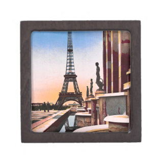Eiffel Tower Vintage Hand Colored Birds Eye View Jewelry Box