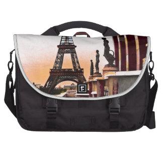 Eiffel Tower Vintage Hand Colored Birds Eye View Laptop Bag