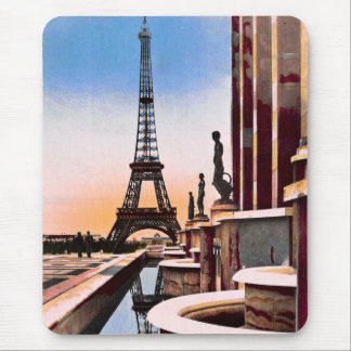 Eiffel Tower Vintage Hand Colored Birds Eye View Mouse Pad