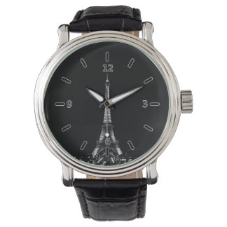 Eiffel Tower Vintage Leather Strap Wristwatches