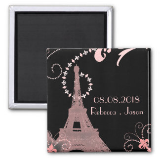 eiffel tower vintage paris save the date 2 inch square magnet