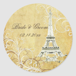 Eiffel Tower + vintage pearl swirls stickers