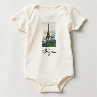 Eiffel Tower Vintage Postcard Print Baby Bodysuit