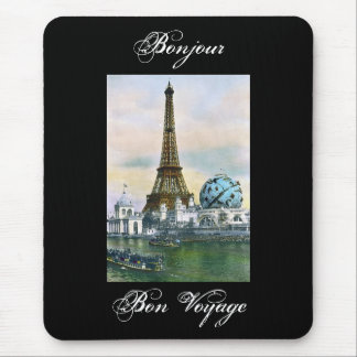 Eiffel Tower Vintage Postcard Print Mouse Pad