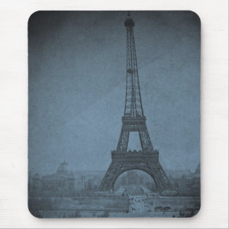 Eiffel Tower Vintage Stereoview Cyan Tone Mouse Pads
