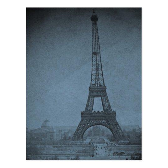 Eiffel Tower Vintage Stereoview Cyan Tone Postcard
