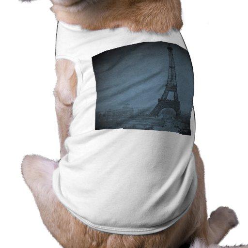 Eiffel Tower Vintage Stereoview Cyan Tone T-Shirt