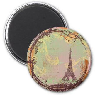 Eiffel Tower Vintage Style in Pink 2 Inch Round Magnet