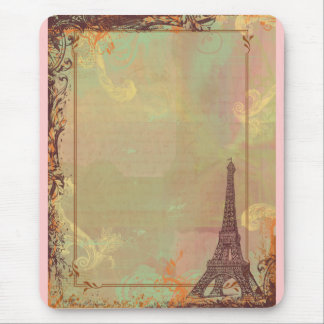 Eiffel Tower Vintage Style in Pink Mouse Pad