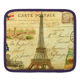 Eiffel tower vintage travel diary collage France Sleeve For iPads