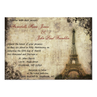 "Eiffel Tower Vintage Wedding Invitation 5"" X 7"" Invitation Card"