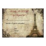 Eiffel Tower Vintage Wedding R.S.V.P. 3.5x5 Paper Invitation Card