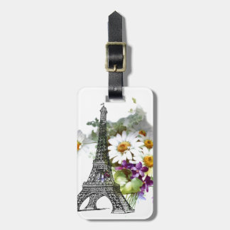 Eiffel Tower Violets Daisy Bag Tag
